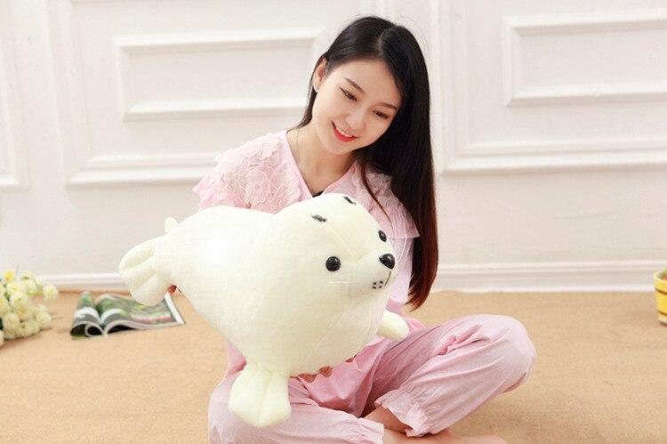 Grand jouet créatif en peluche lion de mer joli cadeau de poupée de lion de mer blanc en peluche environ 60 cm
