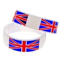 Promo Gift New Arrived 1PC 1 Wide Band UK Flag Logo Silicone Bracelet
