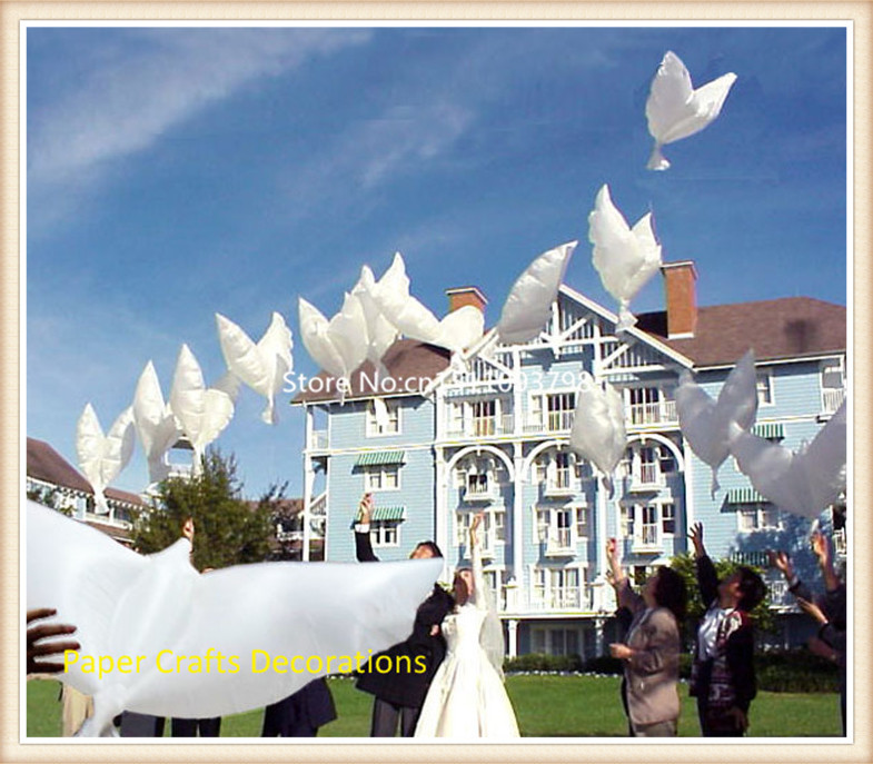 Free shipping 45pcs/lot biodegradable helium flying dove balloons white wedding/birthday/party event decorations size 105*45cm