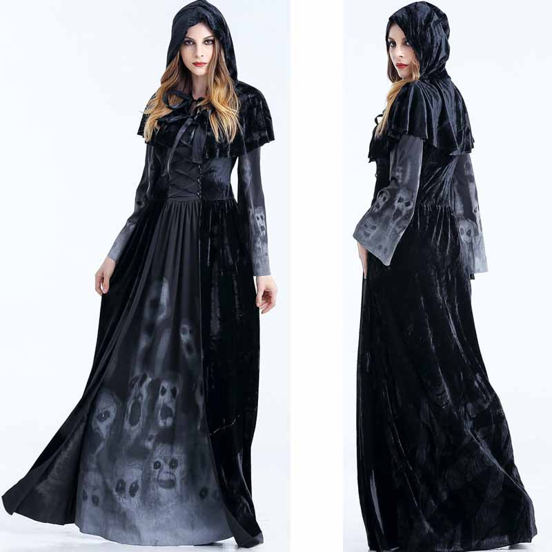 Adult Witch Vampire Cosplay Costume Halloween Party Masquerade Dress Black Hooded Cloak Women's Fancy Dress