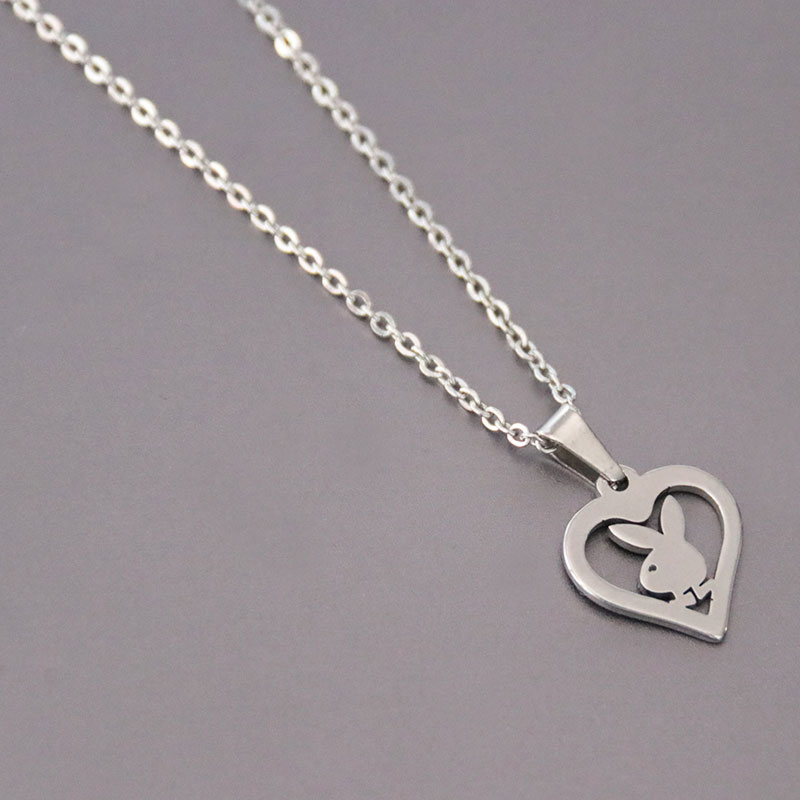 1pc Little Bunny Stainless Steel Custom Necklace Rabbit Heart Pendants Necklaces Women Kids Fashion Minimalist Jewelry(China)