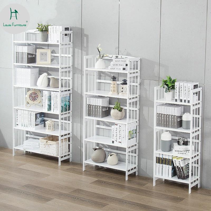 Louis Fashion Simple Bookshelf White Student Space Modern