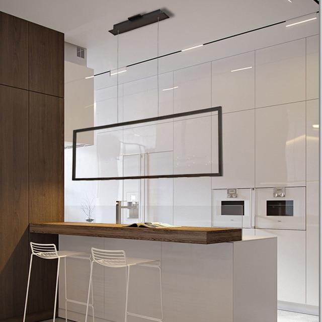 New Art Led Lampu Chandelier Modern Hitam Gi Panjang Dapur Rumah Pencahayaan Untuk Ruang Makan