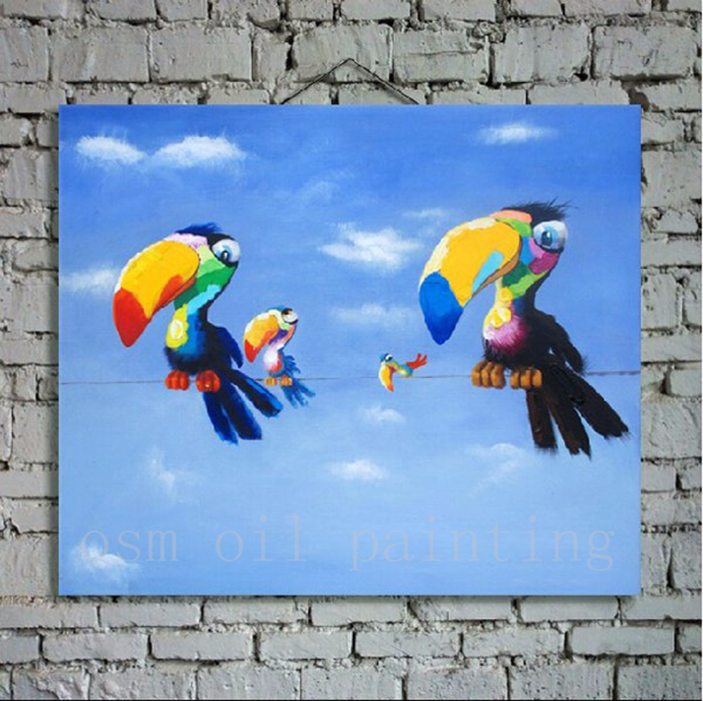 100% Handmade Wall Art Deor Hang Picture Hand Painted Modern Abstract Animal Colourful Toco Toucan Birds Oil Painting on Canvas