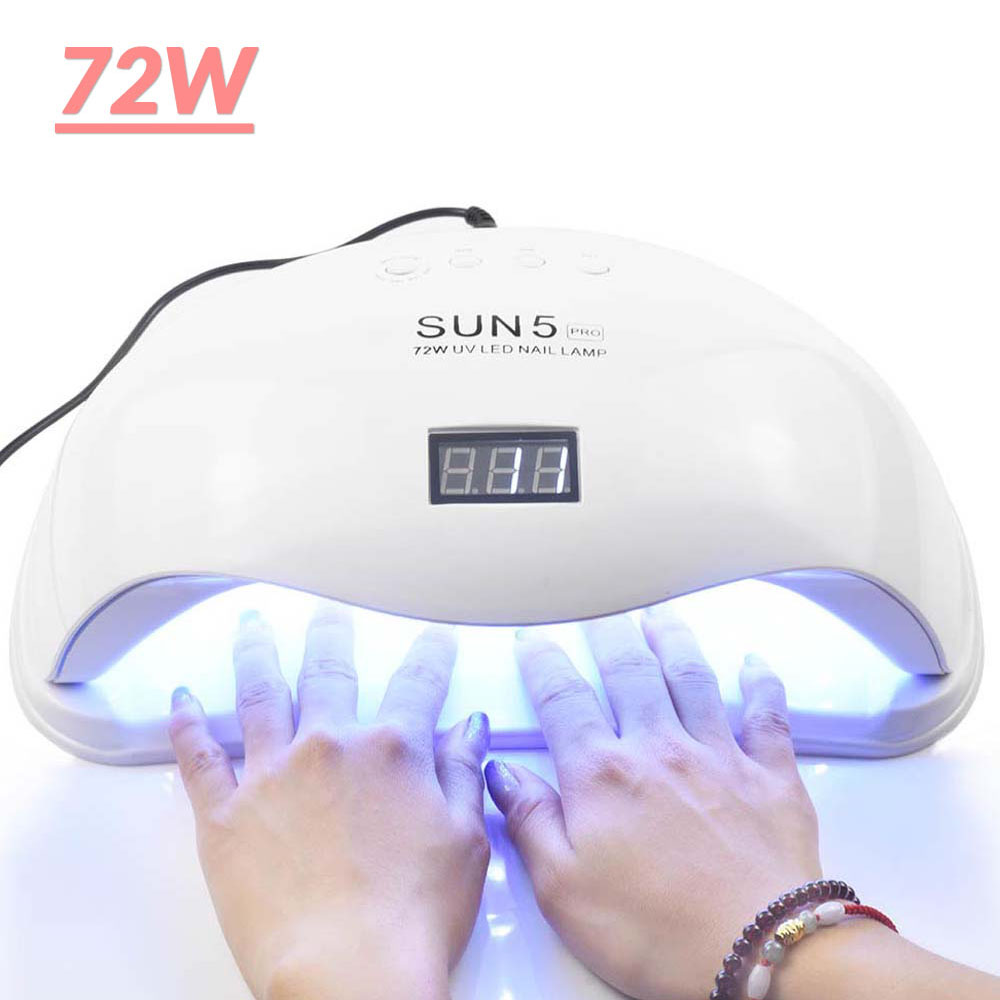 72W UV LED Nail Lamp SUN5 PRO Two Hand Lamp For Manicure 36 Pcs Led Beads Nail Dryer For Curing Nail Gel Polish Nail File Tools in Nail Dryers from Beauty Health