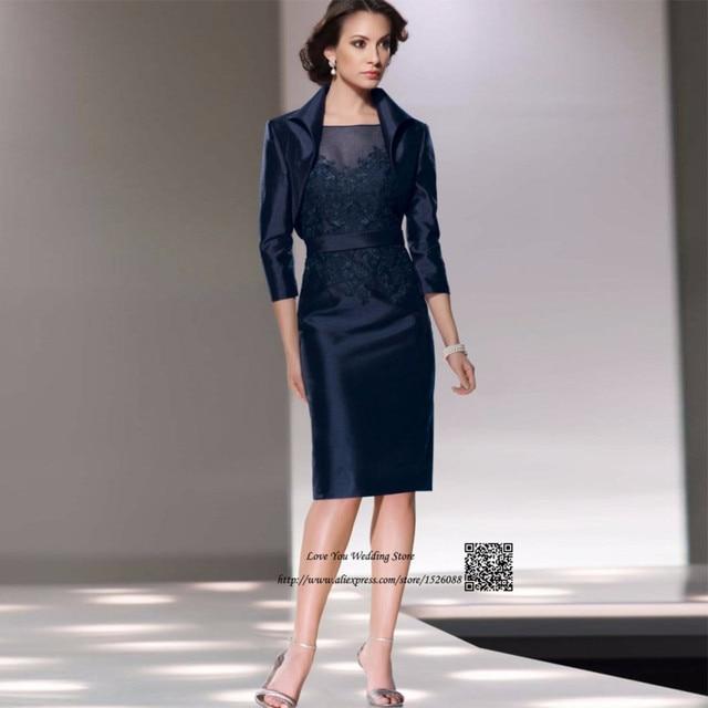 Navy Blue Cheap Women Mother of the Bride Pant Suits Dresses Knee Length  Short Evening Party Dress Bolero Vestido de Madrinha 781553084f48