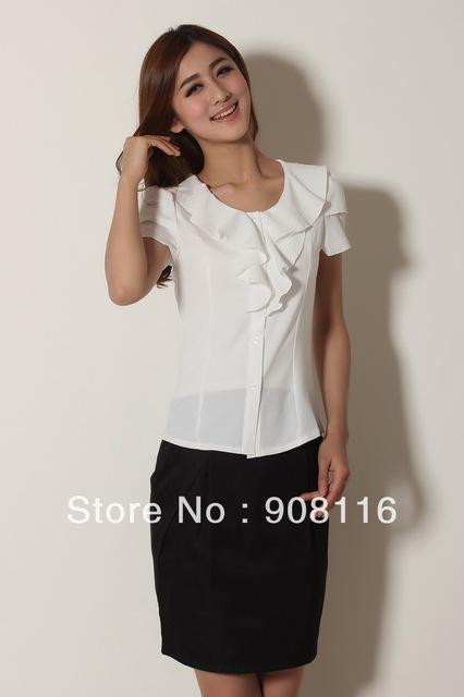 0eb62ed18d7 US $12.89 |2014 New Hot,women fashion short sleeve ruffles slim  shirts,women Business Dress shirts Top Blouse,White/Black,Pink,S,M,L,XL-in  Blouses & ...