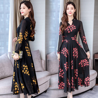 2019 autumn female fashin large size floral printed dresses new women's Retro plus size hight waist printing long chiffon dress