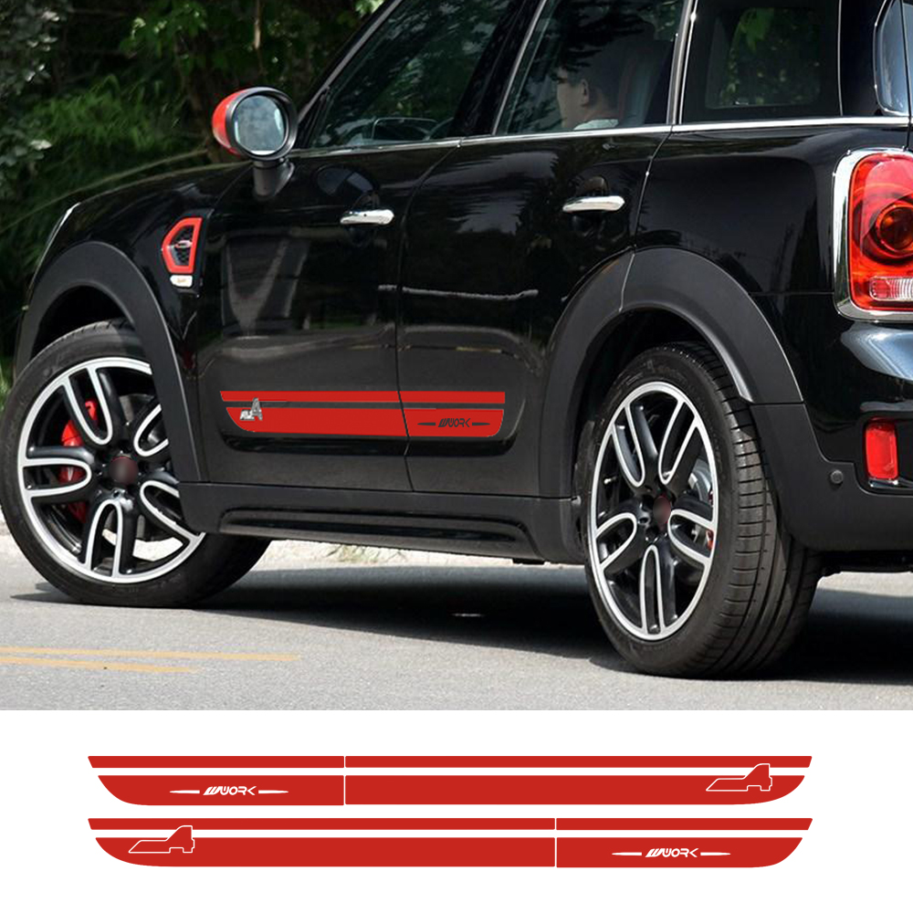 Side Stripes Skirt Body Decal Car Stickers JCW Graphic All4 for MINI John Cooper Work Countryman F60 2017-Present Car Styling