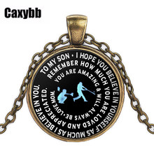 Caxybb Popular Baseball Pendant Necklace Mommy & Son Gift Metal Chain Necklace Black Sliver Gold Fashion Letter Necklace(China)