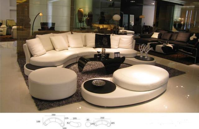 Unique Real Cow Leather Sofa Living Room Set Modern Foshan Home Furniture Arc