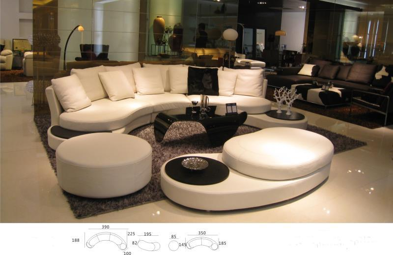 Unique Real Cow Leather Sofa Living Room Set Modern Foshan Home Furniture Arc Shape Style