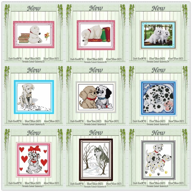 Dalmatians Husky Lovely dog painting counted print on the canvas DMC 11CT 14CT kits DIY Cross Stitch embroidery needlework Sets