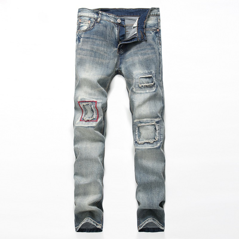 Male Light blue Hole Grinding blue Slim Straight jeans