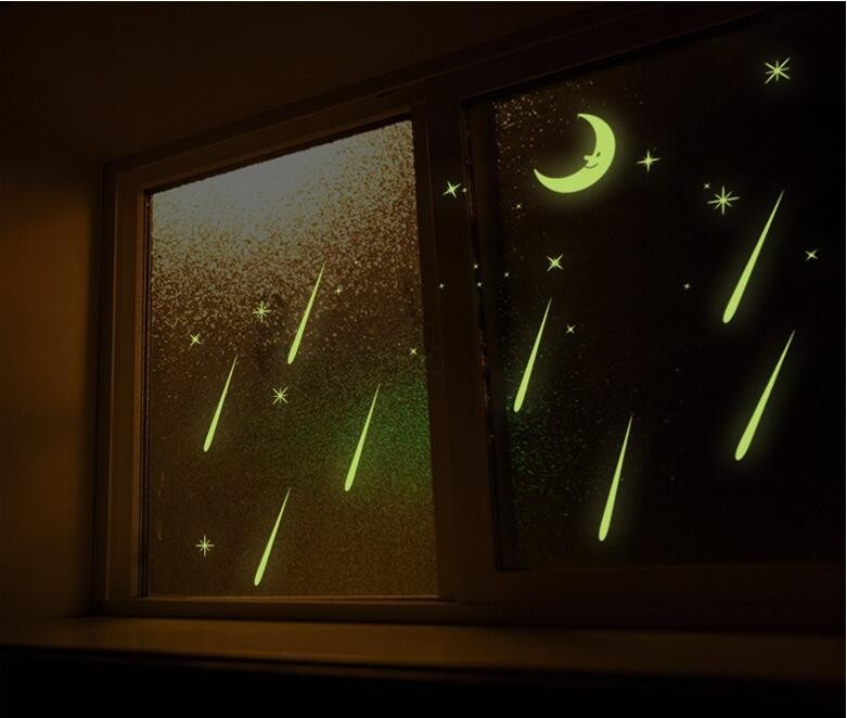 FREE SHIPPING Meteor Shower Wall Stickers Romantic Sky Star Moon Wall Decals Luminous stickers fluorescence Kids Room Bedroom