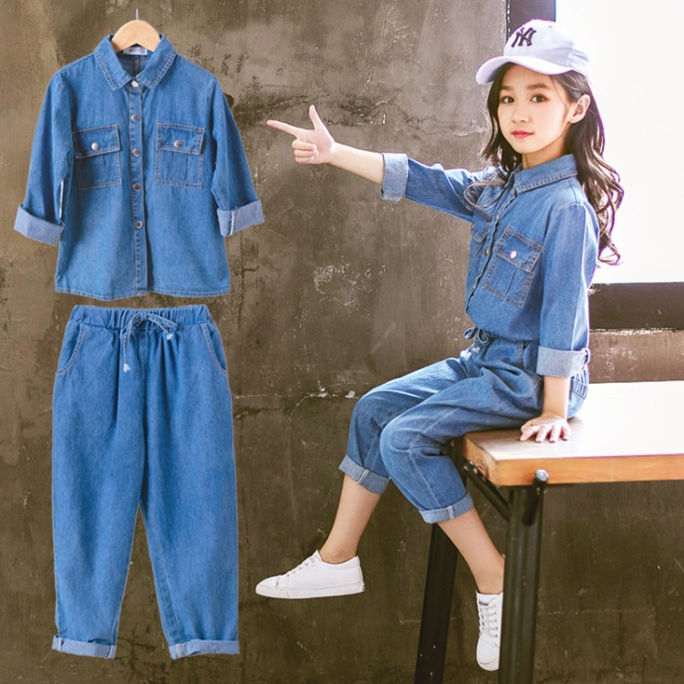 Girls Suit Autumn 2018 Spring and Autumn Clothes In The Big Boy Denim Double Pockets Tide Clothes Two-piece kimocat boy and girl high quality spring autumn children s cowboy suit version of the big boy cherry embroidery jeans two suits
