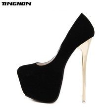 TINGHON Sexy Pumps Wedding Women Fetish Shoes Concise Woman Latform Very High Heel 16 cm Stripper Flock  size 34-45