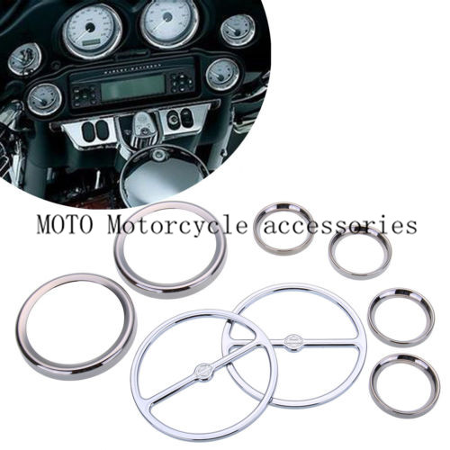 Chrome Motorbike Stereo Accent Speaker Speedometer Trim Ring Set for Harley Ultra Classic Touring Road Glide Electra 1986 Up