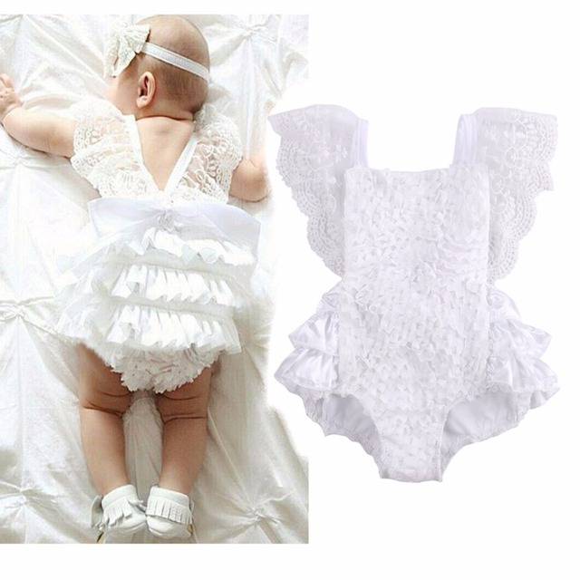 7c33a34f4f98 Puseky 2017 New Summer Baby Romper Girl s Princess White Lace Romper Baby  Clothes Newborn Backless Jumpsuit