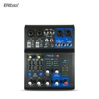 profession Mini Mixer 6 Kanal Karaoke Mikrofon Digital Audio Integrierte 48V Phantomspeisung mit EQ USB Professional Audio Mixer