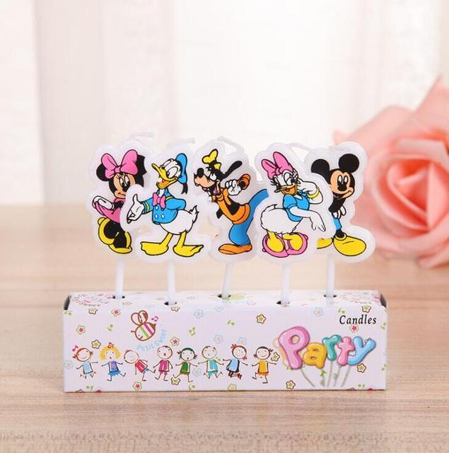5pcs Donald Duck Candle Mickey Minnie Mouse Happy Birthday Baby Boy