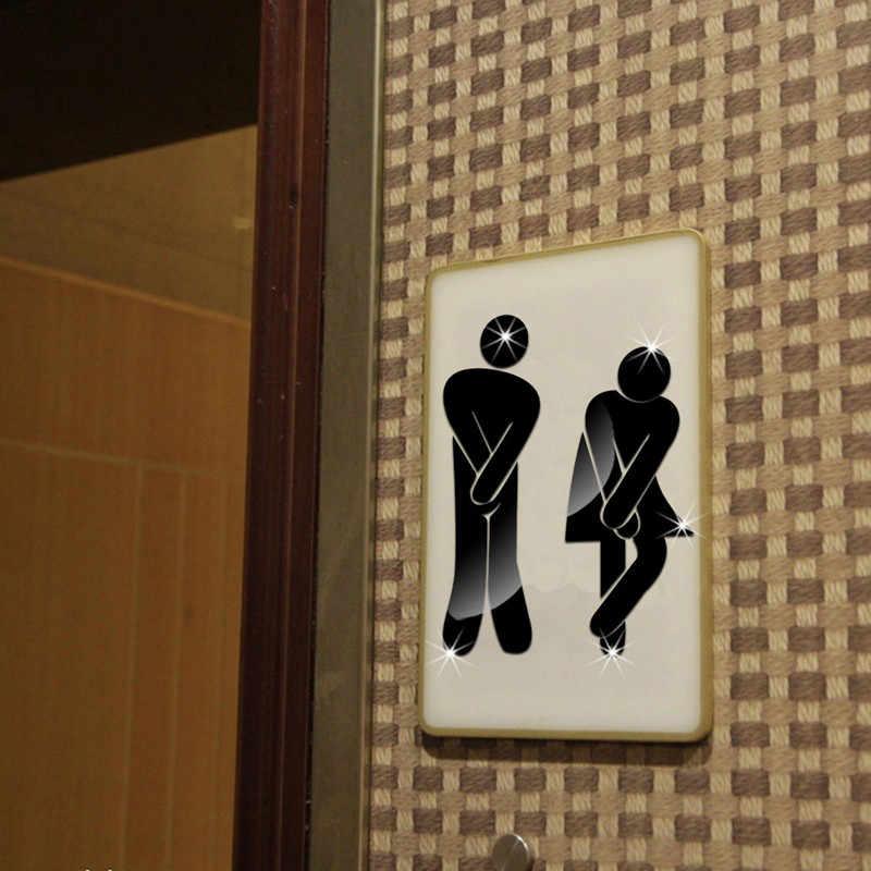 Mirror wall stickers toilets Decor WC male /& Female Identity Acrylic waterproof