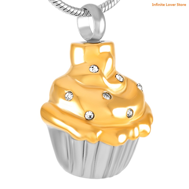 KLH8670-9 Stainless Steel Cupcake Cremation Ashes Urn Pendant Keepsake Memorial Secret Stash Necklace-Cheap Price Ashes Jewelry klh9359 dog tag stype my fur angel pet urn necklace for ashes memorial keepsake cremation pendant funnel gift