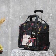 Nieuwe Mode Bagage Metalen Trolley Reistassen Vrouwen & Meisjes Bloem Koffer Op Wielen Valise Bagages 16 Inch Carry Op handtas