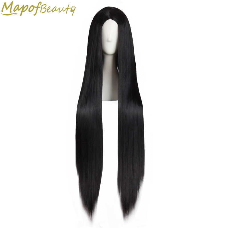 MapofBeauty 100cm Long Straight Hair100cm Cosplay Wig Black White Brown 4 Color Heat Resistant Synthetic Wigs Women Ladies Party-in Synthetic None-Lace  Wigs from Hair Extensions & Wigs
