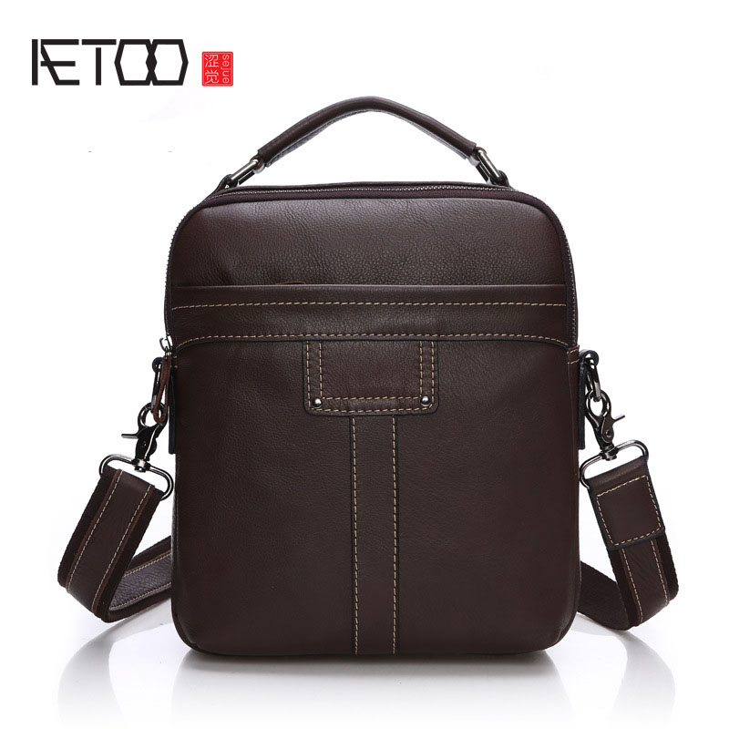 AETOO Business leather men bag casual leather men bag vertical section square leather male package oblique leather men bag aetoo new first layer of leather men s shoulder bag leather male package cross section oblique cross bag japanese and korean ver