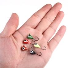 5Pcs Mini Head Jigs Bait Synthetic Winter Ice Fishing Hooks 1.9cm Sinking Arduous Lure Balancer