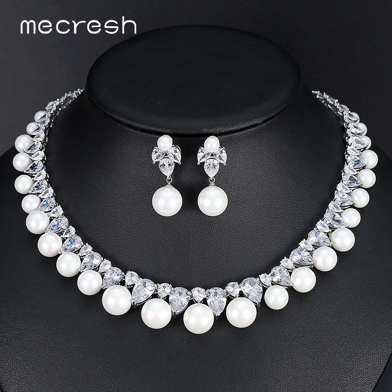 Mecresh Round Simulated Pearl Bridal Jewelry Sets Gorgeous CZ Necklace Sets 2018 European Hot Wedding Engagement Jewelry MTL499Mecresh Round Simulated Pearl Bridal Jewelry Sets Gorgeous CZ Necklace Sets 2018 European Hot Wedding Engagement Jewelry MTL499