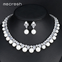 Mecresh Round Simulated Pearl Bridal Jewelry Sets Gorgeous CZ Necklace Sets 2018 European Hot Wedding Engagement Jewelry MTL499
