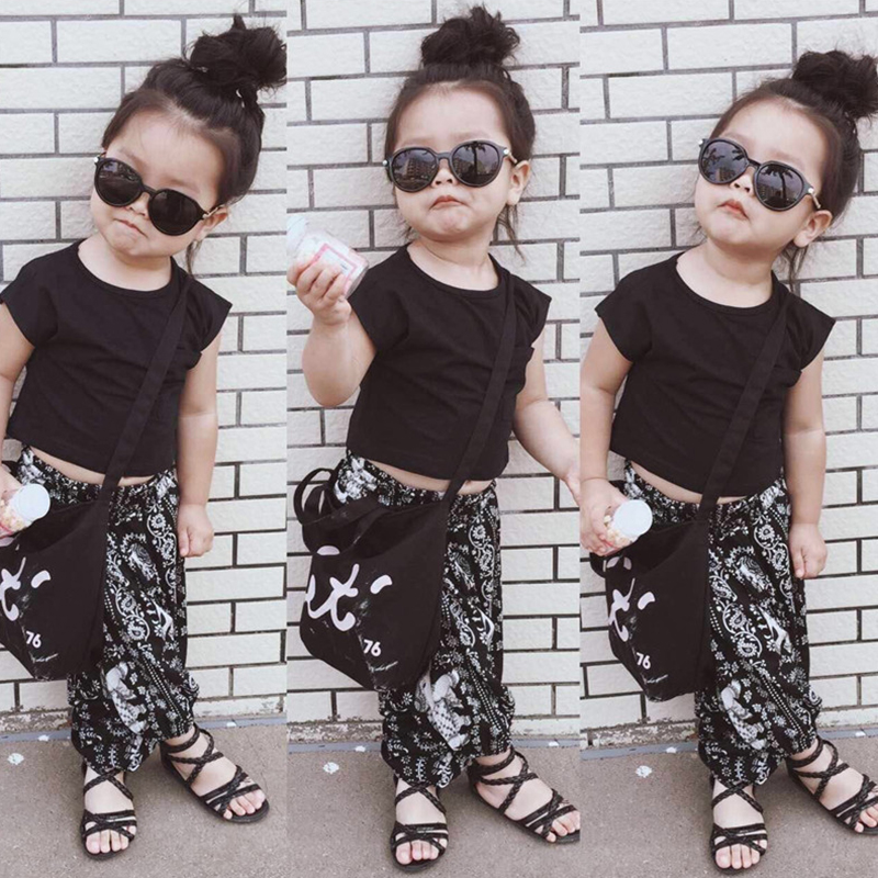 Bear Leader Girls Clothing Sets 2018 New Brand Summer Kids Clothes Black Clothes+Elephant Pattern Pants 2Pcs Girls Sets For 2-6Y bear leader girls clothes 2016 fashion summer style boy clothing sets hello kitty short sleeve shorts 2pcs for kids clothes 3 7y