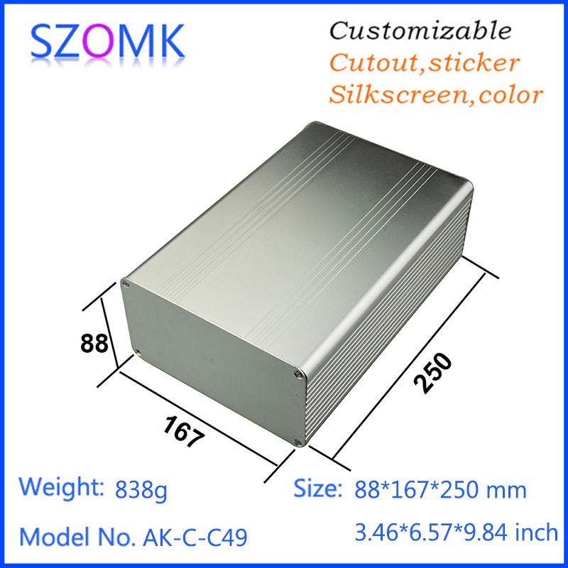 10 pcs, 88*167*250mm szomk electronic diy aluminum control box aluminum amplifier case aluminum box for electronic project 1pc sand blasting oxidation black aluminum case diy project electronic line protection box 10 x 9 7 x 4cm promotion