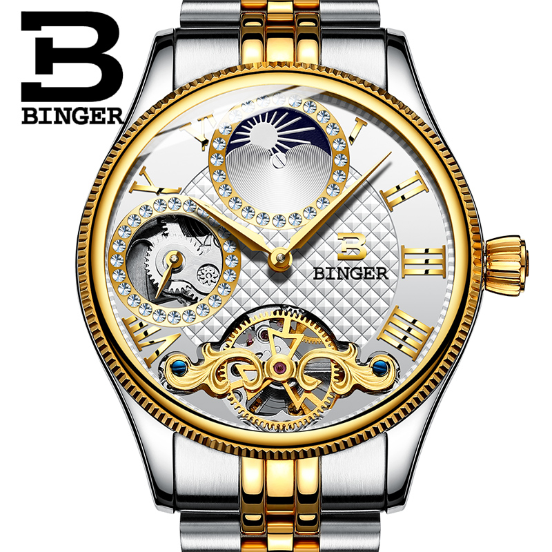 2017 New Mechanical Men Watches Binger Role Luxury Brand Skeleton Wrist Waterproof Watch Men sapphire Male reloj hombre B1175-3 new binger mens watches brand luxury automatic mechanical men watch sapphire wrist watch male sports reloj hombre b 5080m 1