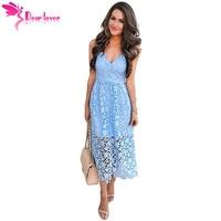 Dear Lover Spaghetti Strap Sundress Sexy Ladies Summer Light Blue Spaghetti Strap V Neck Lace Midi Dress Vestidos mujer LC610253