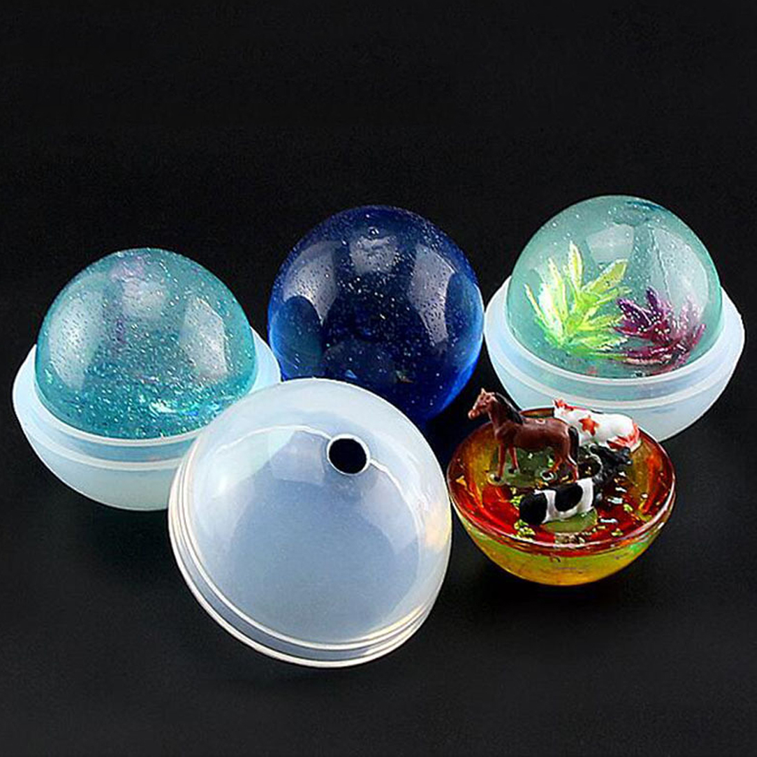 DIY Universe Ball Shpe Type Epoxy Resin Molds For Jewelry Transparent Silicone Mould Dried Flower Resin Decorative Craft