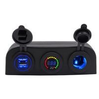 Auto zelt handy 12-24 V 4.2A dual USB ladegerät farbe voltmeter elektrische zigarettenanzünder basis sitz für boot RV Yacht
