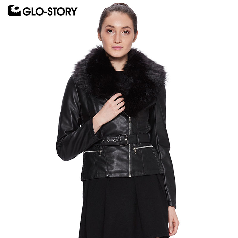 GLO-STORY 2018 Fashion   Leather   Jacket for Women Long Sleeve Zipper Sashes Coats with Fur Collar Lady's Macaw WPY-7529