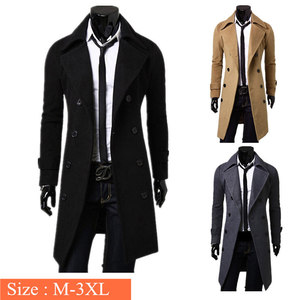Image 2 - メンズトレンチコート新ファッションデザイナー男性ロングコート秋冬ダブルブレスト防風スリムトレンチコートの男性プラスサイズ