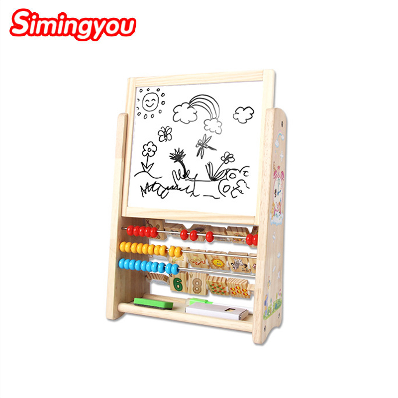 Simingyou Kids Wooden Toys Multi-functional Learning Frame Drawing Board English Digital Flap Calculation Board C20Drop Shipping
