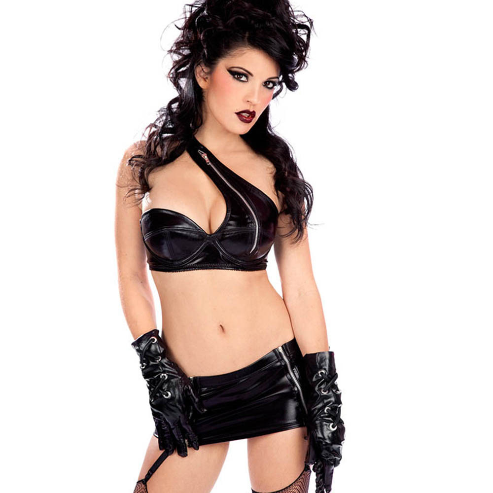 Women Leather Sexy Set M-XL Night Bar Club Costume High Quality Black Faux Vinyl Latex Lingerie Set One Shoulder Bra Mini Skirt