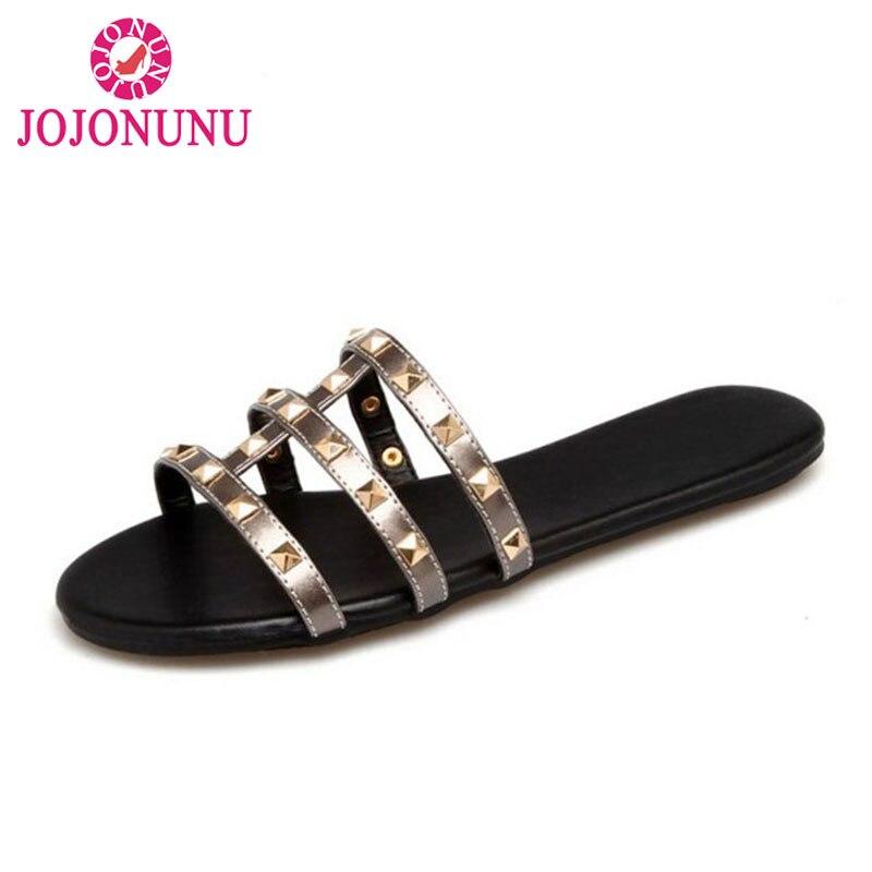 JOJONUNU Women Summer Vacation Beach Shoes Women Rivet Open Toe Flats Sandals Chic Home Flats Slipper Women Footwears Size 32-40
