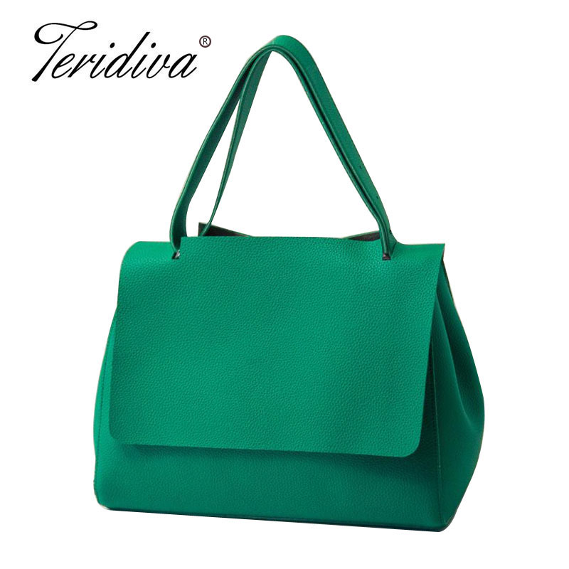 Teridiva Brand Famous Designer Womens Handbags Pu Leather Green Shoulder Bags Wo