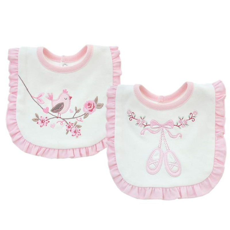 2018 Baby Bibs Burp 100% Cotton Lace Bow Embroidery Floral Birds Bib Baby Girls Lovely Cute Bib Infant Saliva Towels