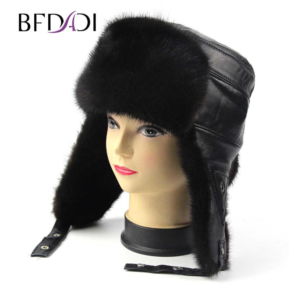 bbb6f9f89fe BFDADI 2018 Winter Bomber Hats for Men sheepskin Leather earflap men real mink  fur hats Warm