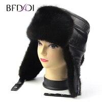 BFDADI 2017 Winter Bomber Hats For Men Sheepskin Leather Earflap Men Real Mink Fur Hats Warm