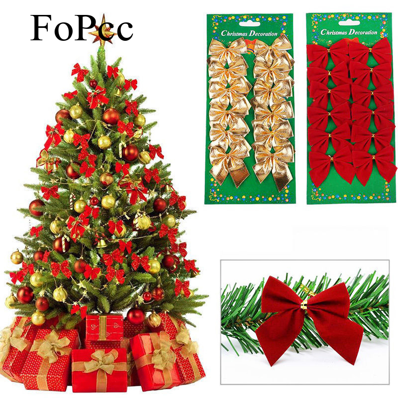12Pcs / lot Christmas Bow Pendant Decorative Supplies Tree Ornaments Wedding New Year Festive Party