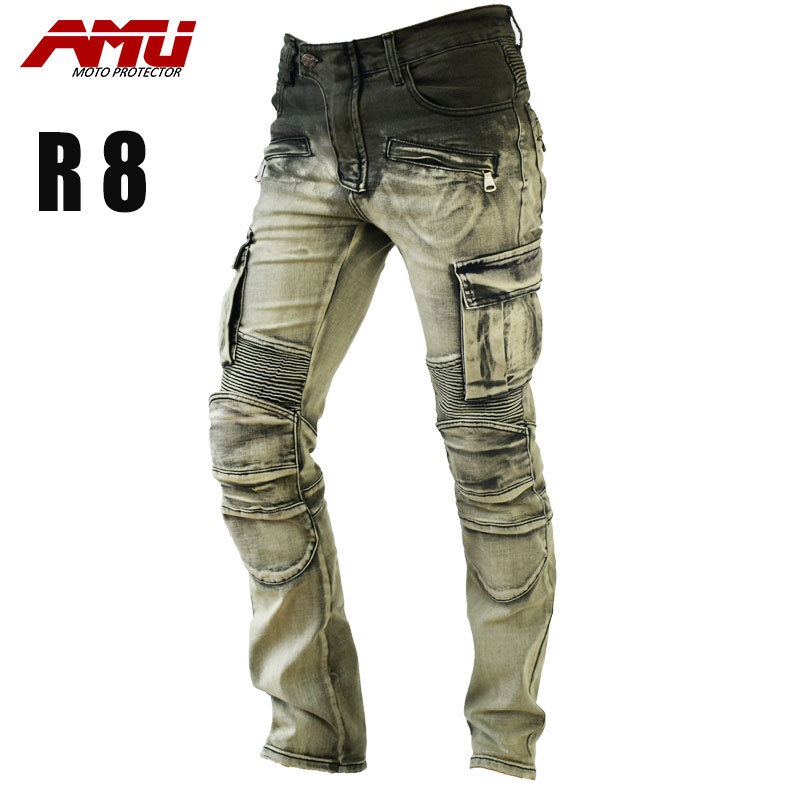 AMU Authentic fashion trend motorcycle riding jeans retro style jeans Retro style Anti-Fall With protective gear